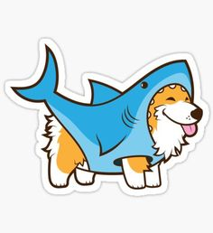 Draw Sharks Corgi In a Shark Suit Sticker - Shop from 1000 unique Animal Stickers on Redbubble. Buy get off! Perfect to stick on lapto. Kawaii Stickers, Laptop Stickers, Cute Stickers, Sticker Shop, Sticker Design, Animal Drawings, Cute Drawings, Bubble Stickers, Aesthetic Stickers
