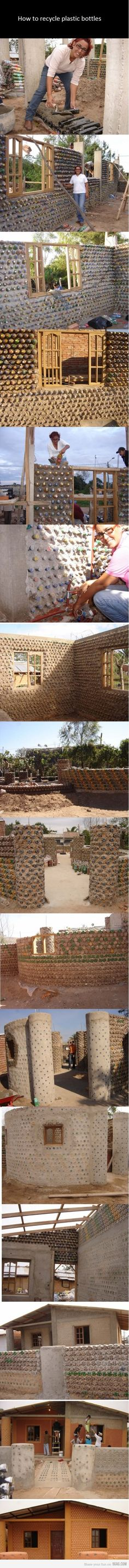Using plastic bottles to build a home! Now THAT is a neat recycling idea!!!