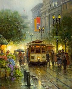 (Gerald Harvey Jones) Harvey (American, Powell Street Cable Cars Oil on canvas 20 x 16 inches - Available at 2018 November 8 American Art -. Rain Photography, Arte Pop, Caricatures, Beautiful Paintings, Amazing Art, Art Gallery, Fine Art, Canvas, Drawings