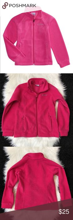 "Pink Columbia Sportswear Benton Springs Fleece M Like New Bright Pink Columbia Sportswear Girls' Benton Springs Fleece Jacket, soft 100% polyester MTR filament fleece for comfort and warmth. The jacket features a raglan design, a mock neck, a full-zipper closure and zippered hand pockets. Columbia Sportswear™ logo on the upper left chest. Modern classic silhouette. Girls size Medium / 10/12. Approximate measurements: length 21"" armpit to armpit 16"". Columbia Jackets & Coats"