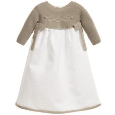 Mebi Baby Girls Beige & White Cotton Gown at Childrensalon.com
