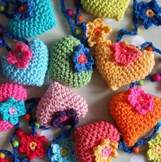 Crocheted hearts and flowers!