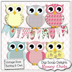 Owl Clip Art, Vintage Rose Owls/ Bunting  Cath Kidston, Shabby Chic Style for Digital Scrapbooking, Birthday Invite, Instant Download. $3.00, via Etsy.