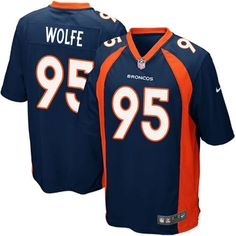 Nike Elite Derek Wolfe Navy Blue Men's Jersey - Denver Broncos #95 NFL Alternate