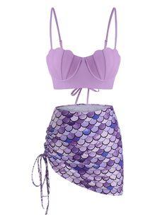 Mermaid Bikini, Bikini Types, Bra Styles, Swimwear Fashion, Printed Skirts, Suits For Women, Push Up, Bathing Suits, Swimsuits