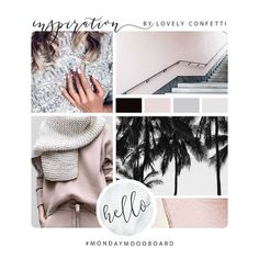 Moodboard blush black and gray by Lovely Confetti Web Design, Blog Design, Logo Design Inspiration, Moodboard Inspiration, Branding Tools, Branding Design, Blush And Grey, Brand Board, Pink Brand