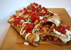 ► Oven Fried Chicken Chimichangas Recipe: picante sauce or salsa, cumin, oregano, cooked chicken, cheddar cheese, green onions, flour tortillas and margarine. Bake at 400° for 25 minutes.
