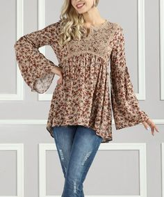 Look what I found on #zulily! Taupe & Rust Floral Lace Tunic - Plus Too #zulilyfinds