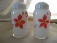 Vintage Milk Glass Salt & Pepper Shakers with Red Flowers and Screw On Caps