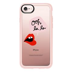 Oh La La Transparent Lips and Pink - iPhone 7 Case And Cover (€35) ❤ liked on Polyvore featuring accessories, tech accessories, iphone case, transparent iphone case, clear iphone case, pink iphone case, iphone cases and apple iphone case