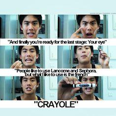 "Nigahiga- Ryan Higa- Dear Ryan-Makeup Guru- ""People like to use Lancome and Sephora, but what I like to use is the french....CRAYOLE."""