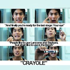 "Nigahiga- Ryan Higa- Dear Ryan-Makeup Guru- ""People like to use Lancome and Sephora, but what I like to use is the french....CRAYOLE."""