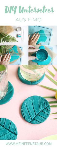 Kreative DIY Idee aus Fimo für tropische DIY Tischdeko: Palmblatt-Untersetzer mit Fimo und Farn oder Palmblättern einfach selbermachen | mit DIY Tutorial und Step by Step Anleitung