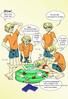 APH-Meltdown by TheLostHype.deviantart.com on @deviantART - The difference between Alfred and Matthew during a heatwave. :P