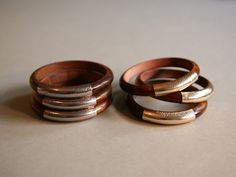 Wood and Leather Bangles Set of 3 | Lydali