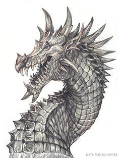 Draggy the Dragon by KatePfeilschiefter on DeviantArt Dragon Tattoo Patterns, Dragon Tattoo Designs, Dragon Head Tattoo, Game Of Thrones Tattoo, Dragon Artwork, Dragon Drawings, Batman Drawing, Comic Style Art, Dragon Sketch
