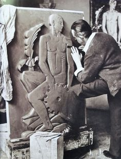 Sculptor John Storrs working on a piece which would become part of the Ashland Ave bridge at Webster, 1933, Chicago. Update: From Anonymous: The Ashland Bridge panels were done by Scipio del Campo. That panel John Storrs is working on was for the Century of Progress. Again, relying on the kindness of strangers to help correct citations!!! The actual panel on the bridge looks very similar though.