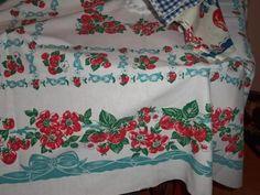 Vintage Tablecloth Strawberries Bows Aqua Flowers Ribbons Cottage Stunning EX | eBay