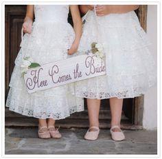 white, lace flower girl dresses. love the ballet slippers.