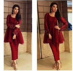 """Pakistani actor Mahira Khan, in a modern angrakha by Feeha Jamshed, promoting her upcoming film """"Ho Mann Jahan""""."""