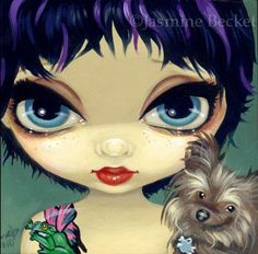 Fairy Face 86 Jasmine Becket-Griffith Fantasy Yorkie Dog Pixie SIGNED 6x6 PRINT