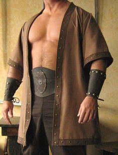 Details about Medieval Celtic Viking Barbarian Short Sleeves Coat Vest Jacket Renaissance Costume, Medieval Costume, Folk Costume, Mens Viking Costume, Renaissance Fair, Vikings, Viking Men, Viking Clothing, Men's Clothing