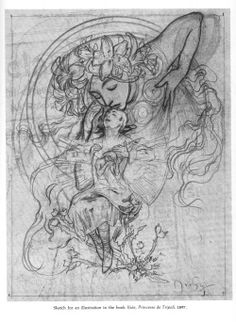 Artbook Scans Week 2 - Side 2 - Drawings of Mucha  I love Mucha's sketches just as much as his paintings if not more.