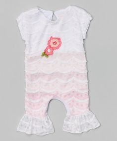 Loving this Pink Sugar Ruffle Playsuit - Infant on #zulily! #zulilyfinds