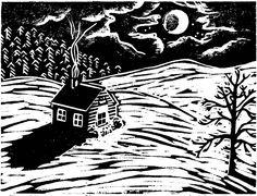 Silent Night, wood block print by AEGN, 1998 Linocut Prints, Art Prints, Block Prints, Litho Print, Back Art, Black And White Illustration, Silent Night, Japanese Art, Art Inspo