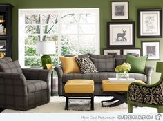 Home Decorating Style 2019 for Grey And Green Living Room, you can see Grey And Green Living Room and more pictures for Home Interior Designing 2019 at Best Home Living Room. Living Room Green, Green Rooms, Living Room Paint, New Living Room, My New Room, Home And Living, Living Room Decor, Green Walls, Modern Living