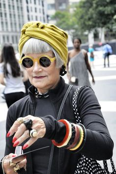 Great color turban. Bracelets, fingernails awesome. Advanced style