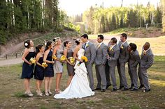 yellow and gray wedding party attire