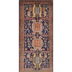 ECARPETGALLERY Ardabil Hand-Knotted Blue/Brown Area Rug