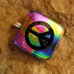 Dichroic Fused Glass Pendant Peace Sign Fused Glass by GlassCat, $22.50