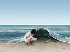 artwork: the sea as a blanket, under it are tones of rubbish - an appeal to recycle | beach, ocean & sea . Strand & Meer . plages & mer |
