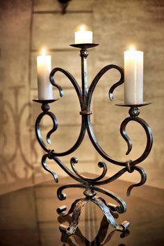 Tuscan Furniture, Metal Furniture, Candle Lamp, Candle Lanterns, Tudor Decor, Candlesticks, Candelabra, Metal Art Projects, Blacksmith Projects