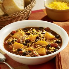 A vegetarian chili recipe made with pre-cut pieces of butternut squash and black beans combined with zesty tomatoes and chili seasoning for quick prep during the week. Great for Meatless Monday! Vegetarian Chili, Vegetarian Recipes Easy, Veggie Recipes, Healthy Recipes, Weeknight Recipes, Veggie Meals, Healthy Dishes, Yummy Recipes, Healthy Food