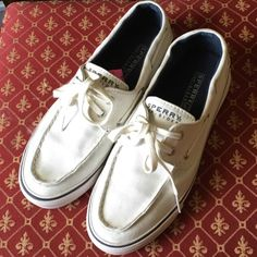 White Sperry Top-Siders These are in good condition other than the two spots on the back heel area. Size 7M Sperry Top-Sider Shoes