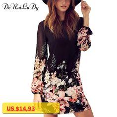 DeRuiLaDy Women Casual Dress for Womens Fashion Office Dresses Multicolor Floral Print Long Sleeve Chiffon Dress vestidos
