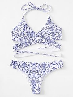 SheIn offers Porcelain Print Wrap B. SheIn offers Porcelain Print Wrap Bikini Set & more to fit your fashionable needs. Summer Bathing Suits, Cute Bathing Suits, Summer Swimwear, Summer Suits, Cute Bikinis, Cute Swimsuits, Porcelain Print, Bikini Sexy, Bandeau Bikini
