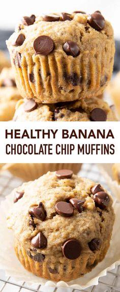 Healthy Chocolate Muffins, Banana Chocolate Chip Cookies, Healthy Banana Muffins, Moist Banana Bread, Banana Chocolate Chip Muffins, Chocolate Chip Recipes, Best Banana Muffin Recipe, Banana Oatmeal Muffins, Granola