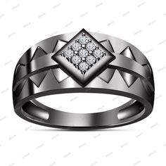 Hot Sale 14k Black Gold Finish 925 Sterling Silver White Sim Diamond Men's Ring #WeddingRing