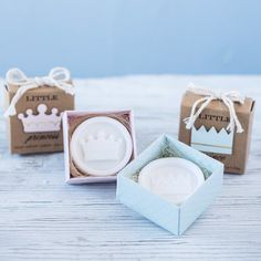 A fit for a prince or princess! These scented soaps featuring the imprint of a crown make ideal favors for a shower welcoming a baby boy or girl.