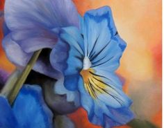 Blue Pansy Flower 11 x 14 inch Bamboo Art by RebeccaLenzPainting, $65.00