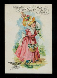 Pink Dress Girl With Cat Tails & Tiny Pug Dog-Victorian Trade Sewing Machine
