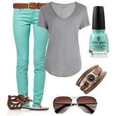 Mint skinnys, grey shirt, brown belt and shoes