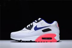 low priced 5a691 76a4e Mens and WMNS Air Max 90 Essential White Ultramarine-Solar Red-Black 537384