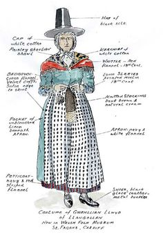 Traditional Welsh attire for ladies. Unlike most folk dress, which develops over time, Wales invented its own. In 1834 it was the opinion of locals & Cymryphile Augusta Hall, Baroness of Llanover, that Wales needed a national costume.  After writing an essay on the topic she & her lady friends took icons of Wales (such as wool), typical rural dress of the early 19th century (like plaid and flannel petticoats), and a few fanciful details to create a quaint homage to the land she loved so…