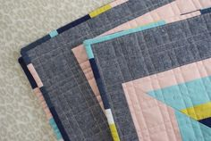 Sew Katie Did | Seattle Modern Quilting & Sewing Studio | Full Tilt Quilt, great ideas on straight line quilting & multi-coloured binding
