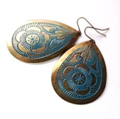 Bohemian Brass Earrings Blue Floral Design Gold by EmeraldPine  www.EmeraldPine.etsy.com